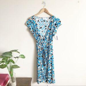 London Times Geometric Print Wrap Dress